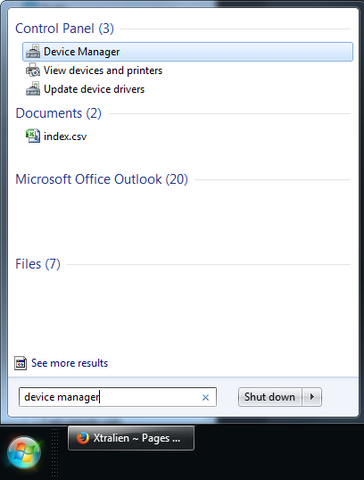 Starting Device manager on Windows