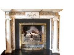 Period White Statuary & Sienna Marble Chimney Piece DES 2 *