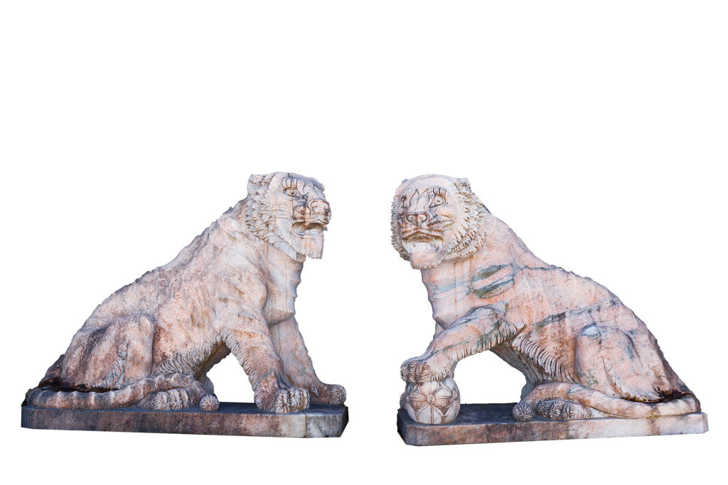 A Pair of Estremoz Marble Tigers T001