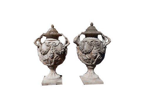 A Pair of Coad Stone Urns & Bases U02