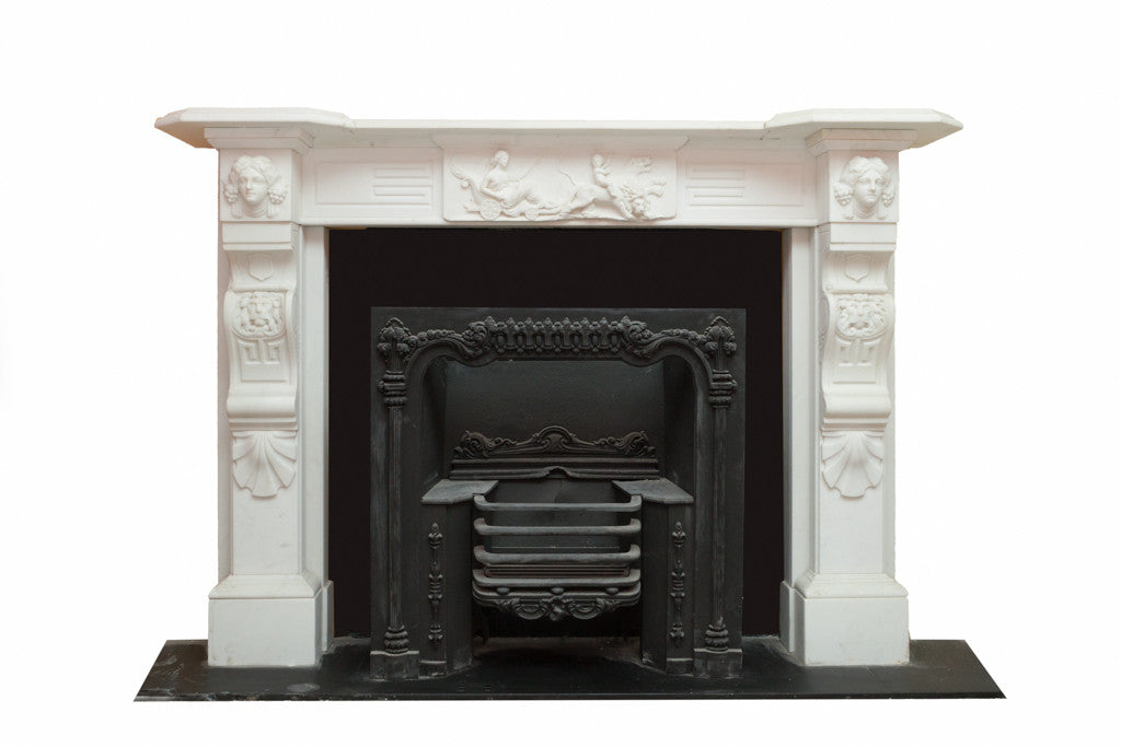 Period White Statuary Marble Chimney Piece W090