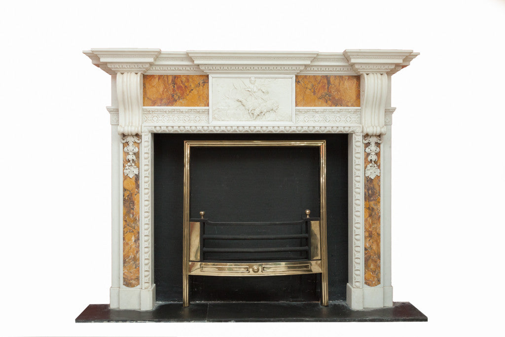 Period White Statuary & Sienna Marble Chimney Piece MAR001