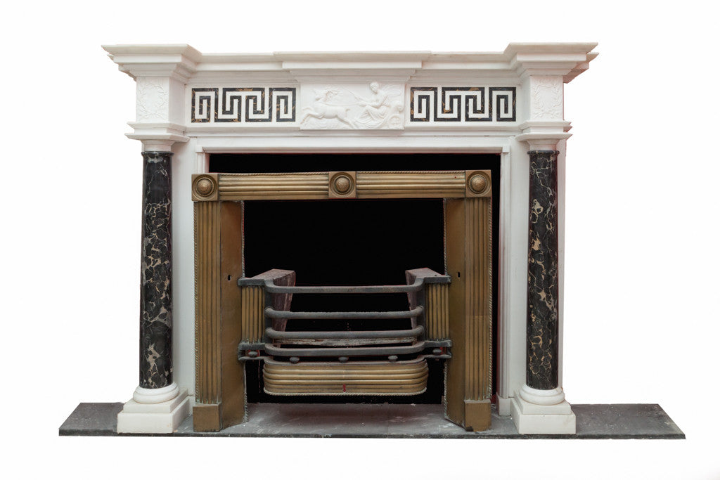 White Statuary in Nero Portoro Marble Chimney Piece W098