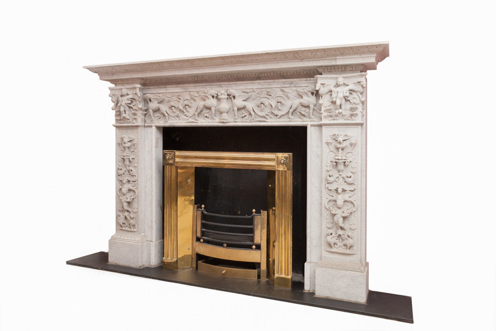 A Fine Carrara Marble Chippendale Style Chimney Piece. ON99S