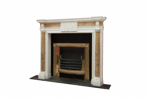 White Statuary Marble Chimneypiece With Sienna Half Columns A998
