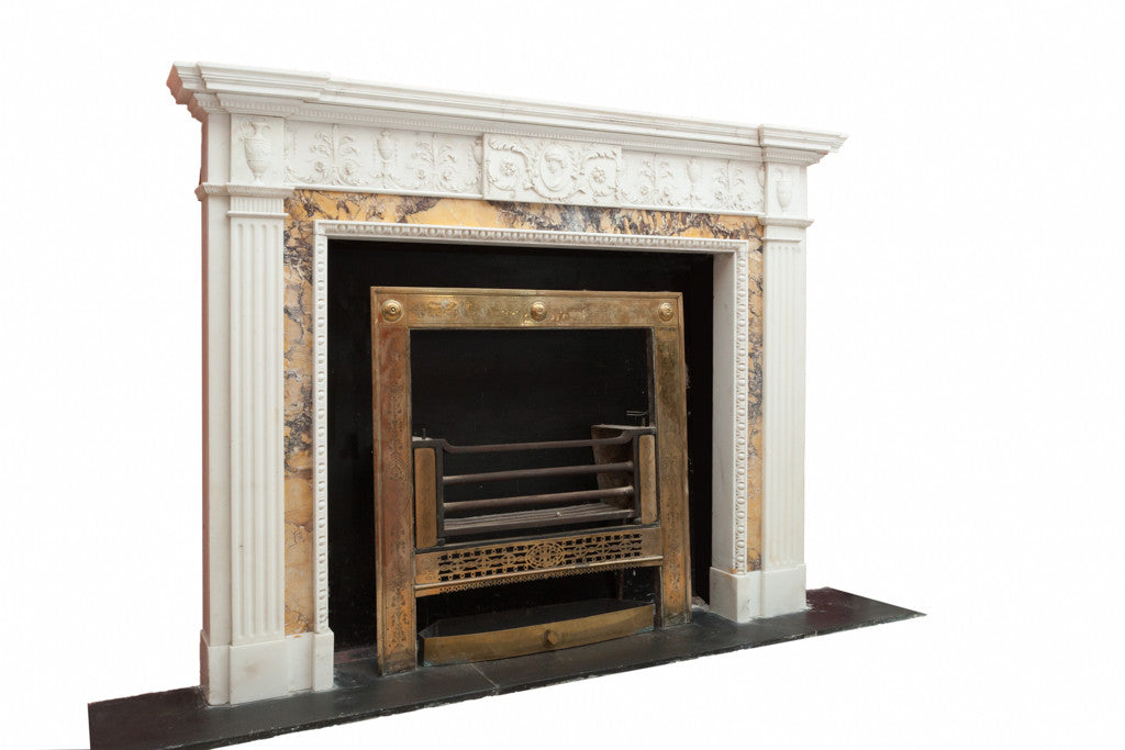 Statuary & Sienna Marble Adams Chimneypiece  Q8