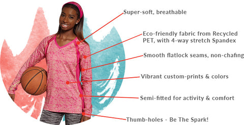 SparkFire Actire Rasberry Creative long sleeve shirt highlights