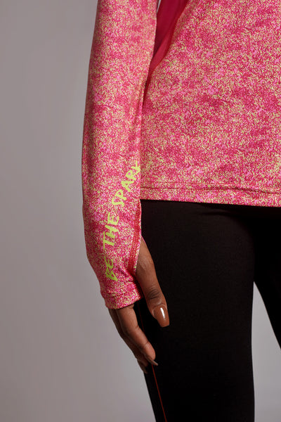 Sleeve of the Raspberry Creative Spark long sleeve
