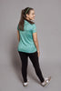 Back of the Teal Bold Spark short sleeve