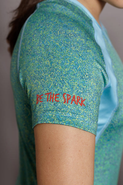 Sleeve of the Teal Bold Spark short sleeve