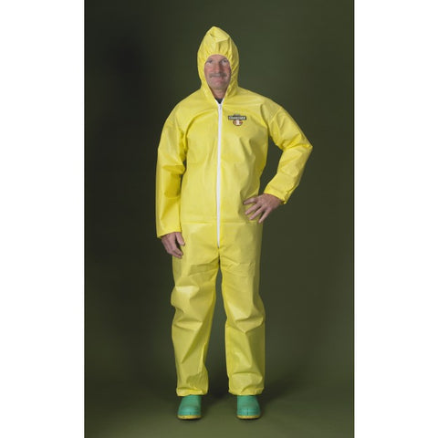Lakeland ChemMax 1 Yellow Coverall with Hood, Elastic Wrists & Ankles #C5428