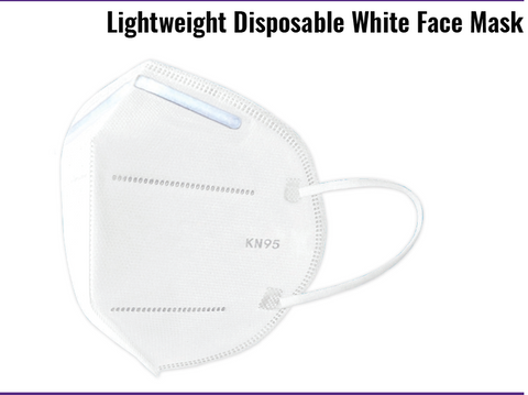Global Glove, Lightweight Disposable White Face Mask, KN95 10/Bag