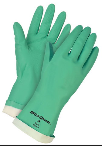 MCR Nirti-Chem Flocked Lined Green Nitrile Gloves 13' 15 Mil Thickness #5319