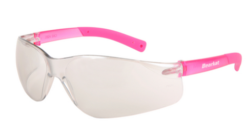 MCR BearKat Safety Glasses I/O Clear Mirror Lens Soft Non-Slip Pink Temple #BK229