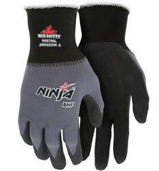 MCR Ninja BNF Work Gloves 15 Gauge Nylon/Spandex Shell NFT Coated Palm Fingertips #N96790