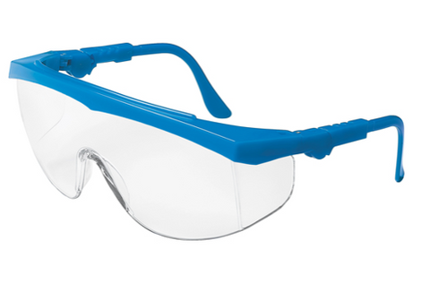 MCR TK1 Blue Safety Glasses with Clear Lens Generous Lens with Built on Side Shields #TK120
