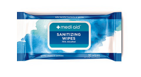 Mediaid 75% Alcohol Sanitizing Wipes (50 ct)