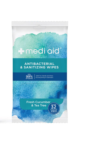 (Case of 12) Mediaid Antibacterial Wipes- Case discounted (includes 384 wipes)