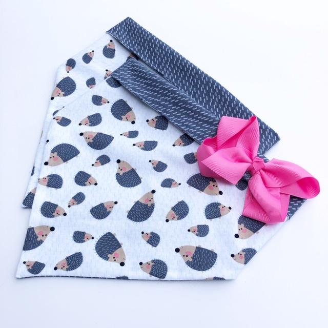Chloe and Max Hedgehog Bandana; with bow