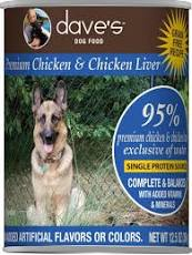Dave's Canned Dog Food, 95% Chicken & Chicken Liver, 13 oz
