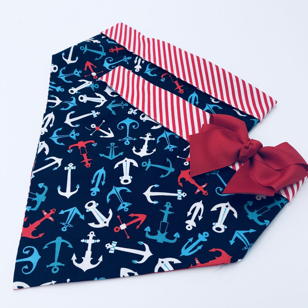 Chloe and Max Multi-Colored Anchors Bandana; with Bow