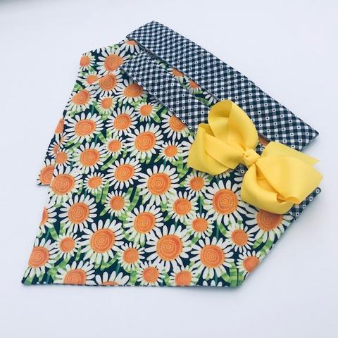 Chloe and Max Orange Daisy Bandana; with Bow