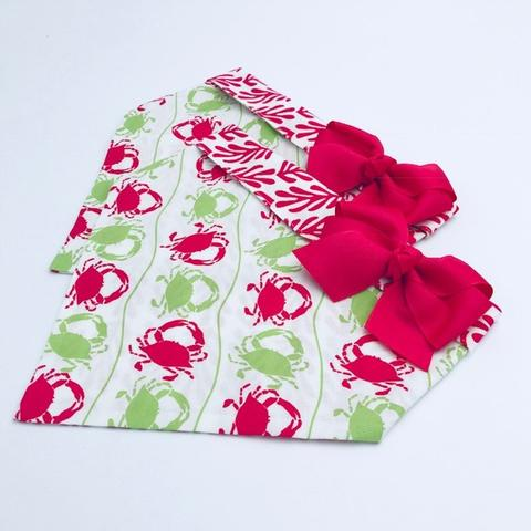 Chloe and Max Pink Crab Bandana with Bow