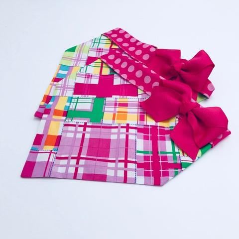Chloe and Max Pink Plaid Bandana; with Bow