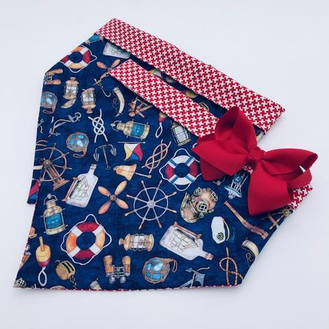 Chloe and Max Ships Ahoy Bandana; with Bow