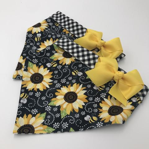 Chloe and Max Sunflower & Bees Bandana; with Bow