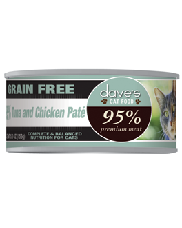 Dave's 95% Premium Tuna and Chicken Pate Cat Food, 5.5 oz