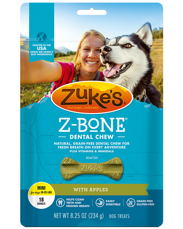 Zuke's Z Bone Dental Chew, Apple Crisp, Mini, 18 Count