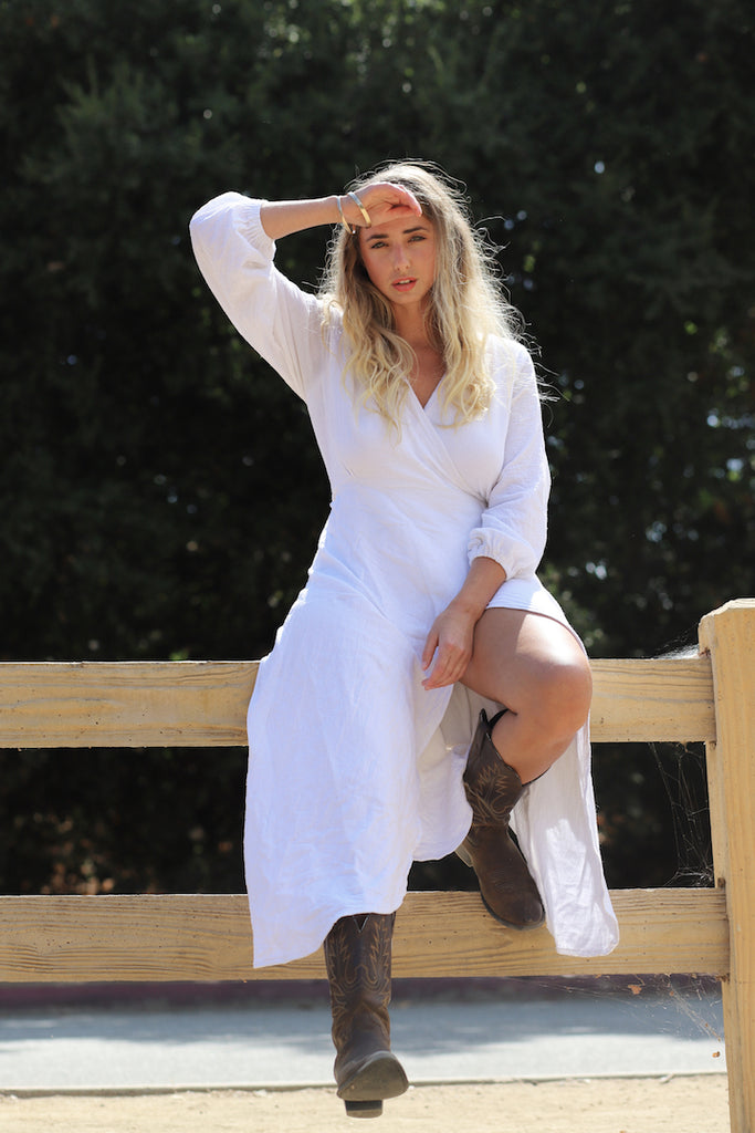 Born Native sustainable and ethical  wrap dress