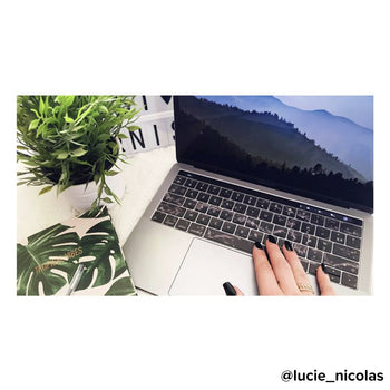Black marble MacBook keyboard stickers