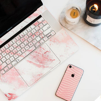 Millennial pink marble dust MacBook Skin