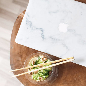 Cream marble MacBook skin