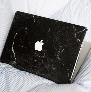 New black marble MacBook hard case