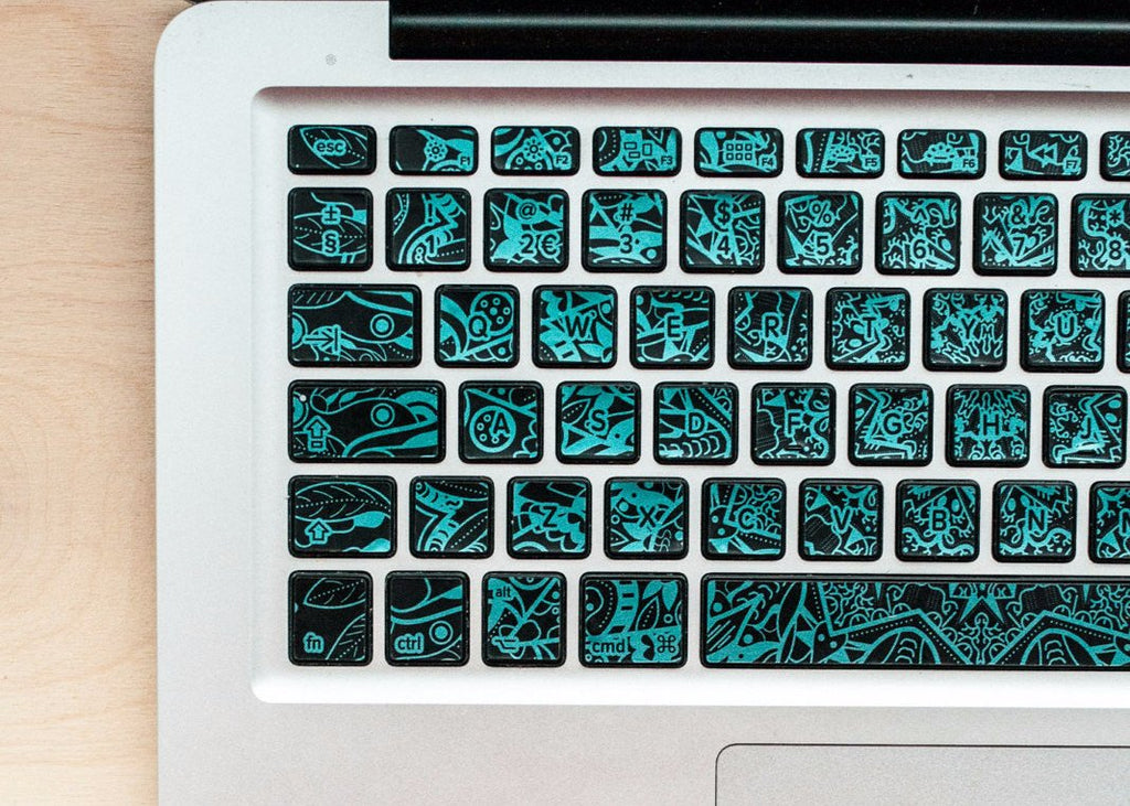 Turquoise metallic mandala MacBook keyboard stickers
