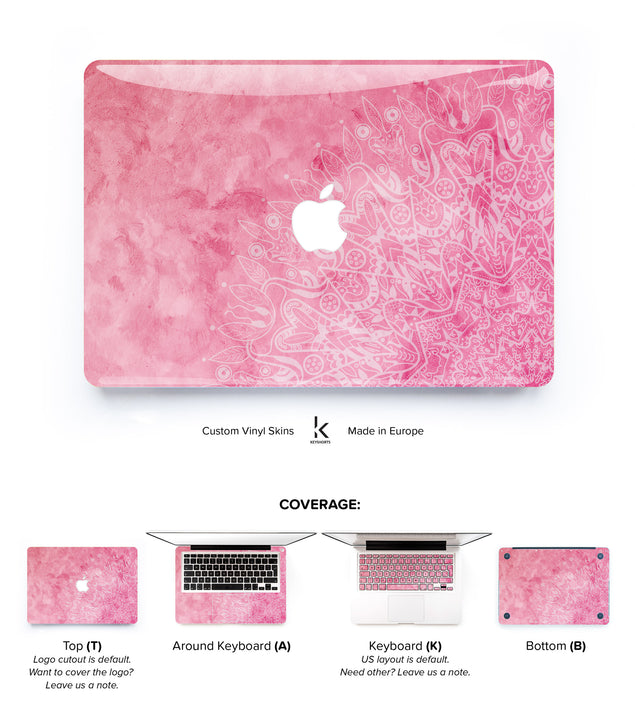 Blush Watercolor Mandala Macbook Skin
