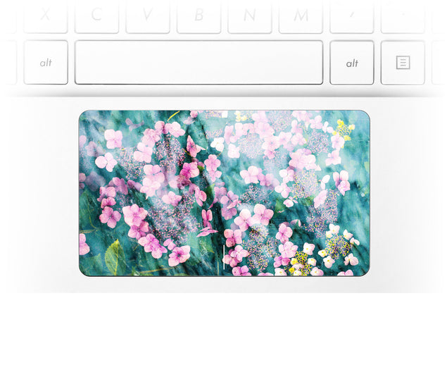 Laptop trackpad sticker with pink flowers