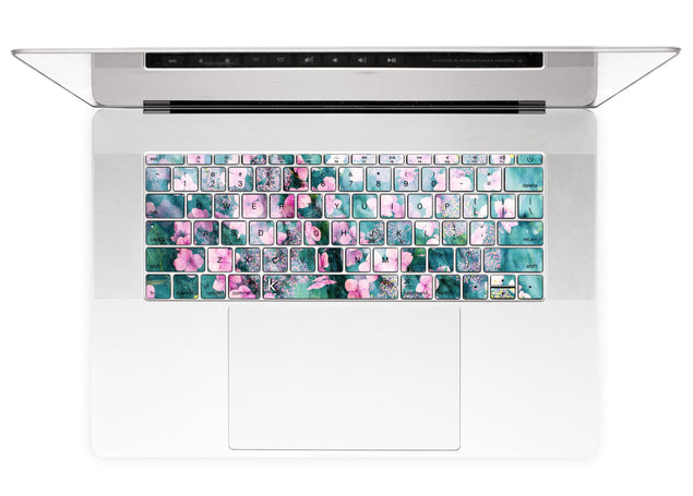 MacBook keyboard stickers with floral jungle