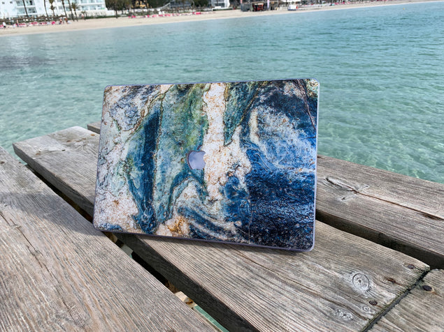 MacBook Pro 15 Touchbar Case with blue marble by the ocean