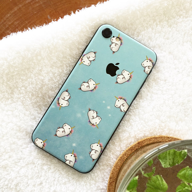 Fluffy unicorns iPhone skin