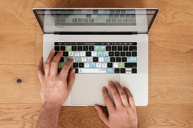 HelpScout Keyboard Shortcuts Stickers on MacBook Pro touchbar