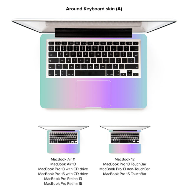 Kawaii Ombre MacBook Skin - around keyboard skin