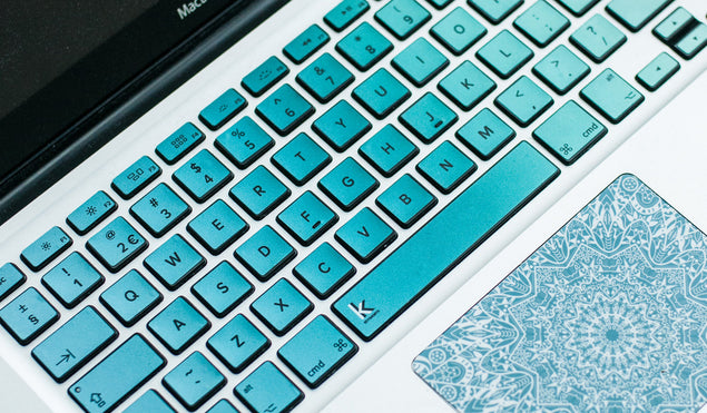 Metallic Blue Green Ombre MacBook Keyboard Decal