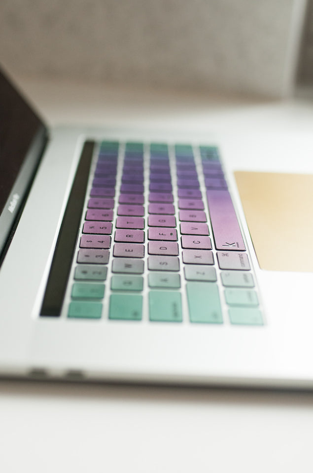 MacBook Pro 13 keyboard stickers with purple-pink-green ombre