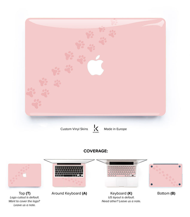 Cat paw print on pink MacBook Top case