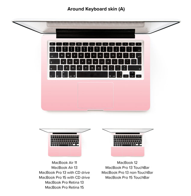 Millennial Pink Vanilla Ombre MacBook Skin - around keyboard skin