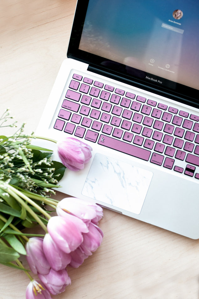 Pink metallic MacBook keyboard decals